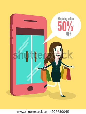 Women shopping online by smartphone. Business and e-commerce concept. vector illustration - stock vector