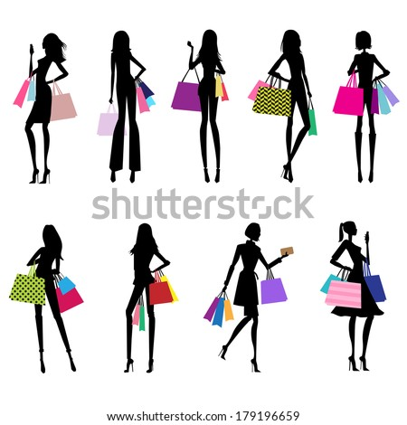 Women Shopping Silhouettes With Colorful Bags - vector eps10  - stock vector