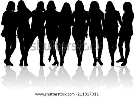 Women silhouettes - stock vector