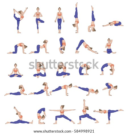 Women silhouettes. Collection of yoga poses. Asana set. Vector illustration.