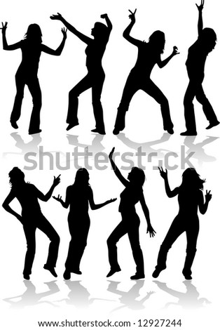 Women Silhouettes, dancing people - stock vector