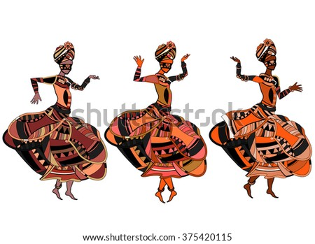 women sing in ethnic style with a white background - stock vector