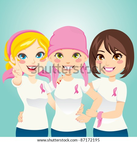 Women supporting and helping a friend fight breast cancer after chemotherapy - stock vector