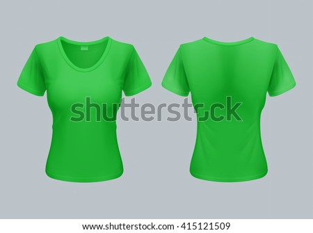 Women T-Shirt Template Back and Front Views in Light Green - stock vector
