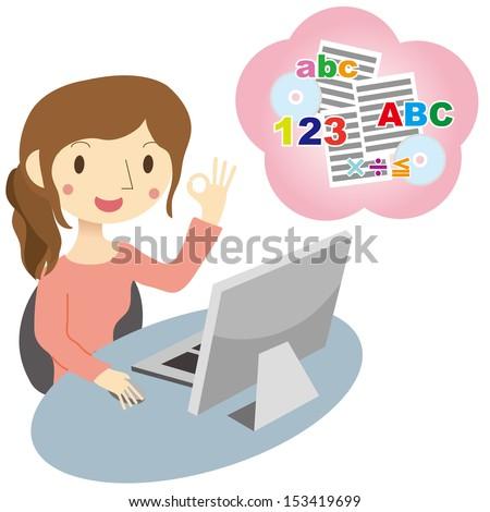 Women to take the correspondence course - stock vector