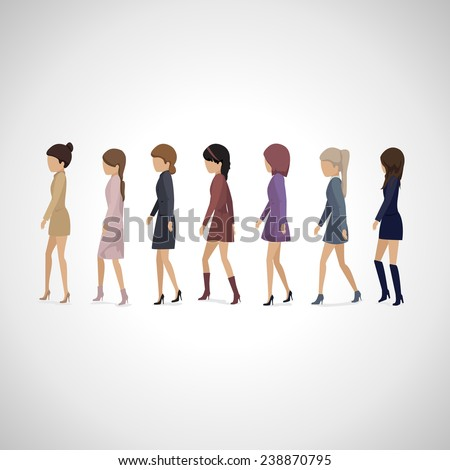 Women Walking In Line - Isolated On Gray Background - Vector Illustration, Graphic Design Editable For Your Design  - stock vector