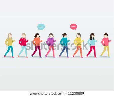 Women Walking Together Vector Design - stock vector