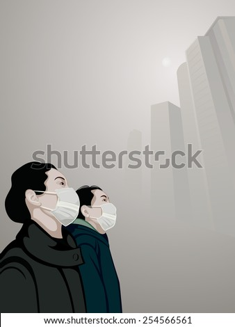 Women wearing mouth mask against air pollution in the smog - stock vector