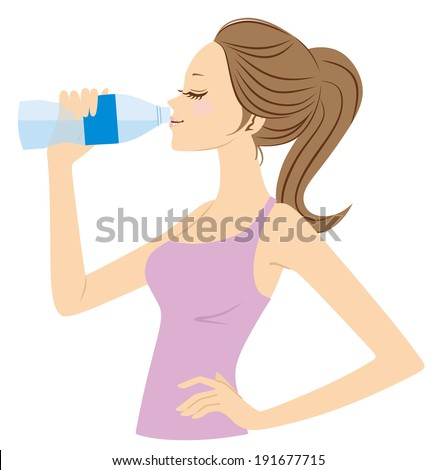 Women who drink water - stock vector