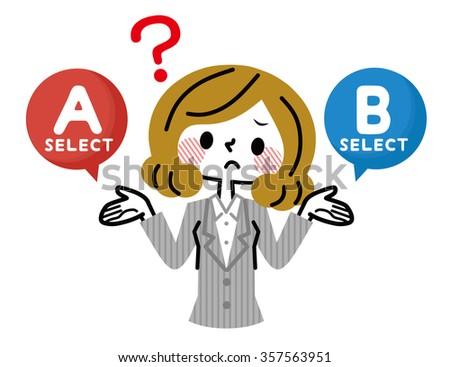 women who suffer or choose either of A and B - stock vector
