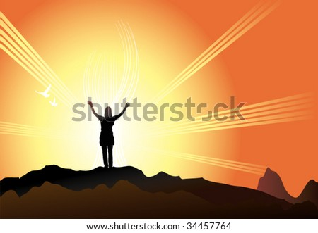 Women with arms up finding her faith - stock vector