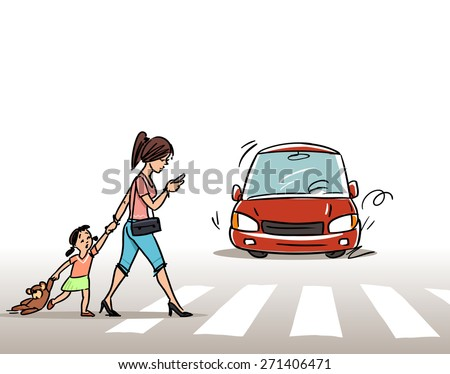 Women with child on the Crosswalk  - stock vector