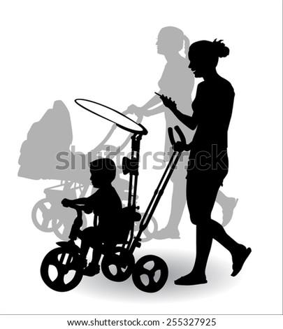 Women with children ride in the stroller children for a walk - stock vector