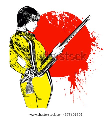 Women with sword on red sun - stock vector