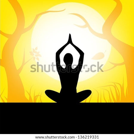 women yoga vector  of illustration - stock vector