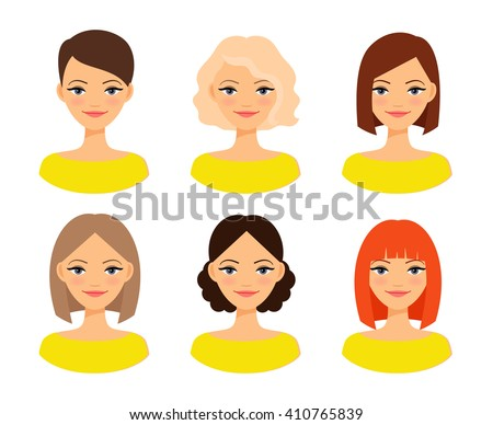 Womens faces. Woman with different hair color and different hairstyles vector illustration - stock vector
