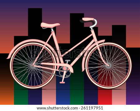 Womens Pink City Bicycle - stock vector