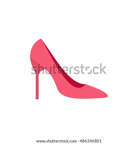 Womens shoe icon in flat style isolated on white background. Wear symbol vector illustration