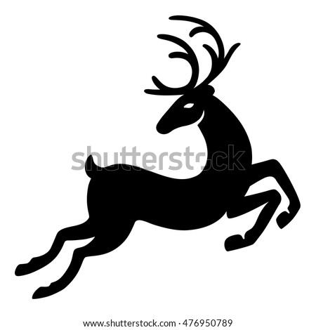 Wonderful deer running (silhouette), design for Xmas cards, banners and flyers, vector illustration isolated on white background