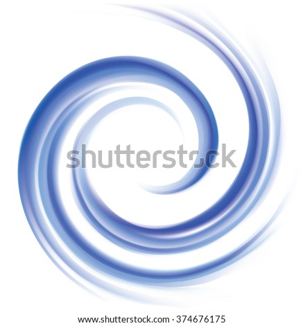 Wonderful futuristic soft curvy ultramarine rippled fond with space for text. Beautiful volute surface vivid deep cobalt iris color with glowing white center in middle of funnel - stock vector