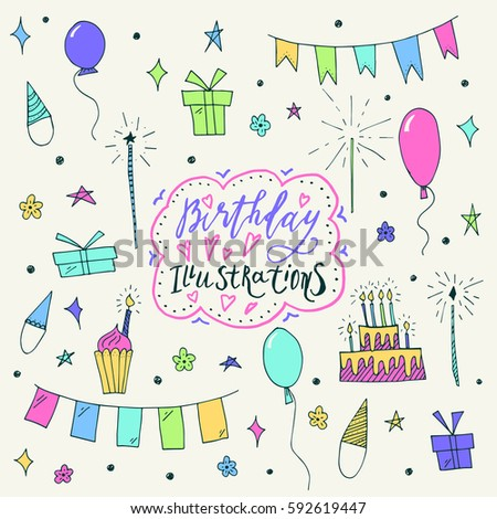 Wonderful Hand Painted Birthday Symbols Amazing Stock Vector