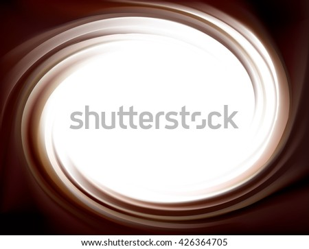 Wonderful mixed deep umber curvy backdrop with space for text. Beautiful volute fluid choco creamy surface with glowing white center in middle of funnel - stock vector
