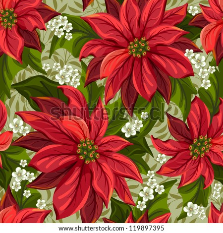 Wonderful seamless background with poinsettia - stock vector
