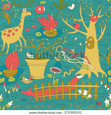 Wonderful Spring Garden Seamless Pattern - stock vector