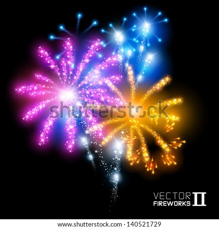 Wonderful Vector Fireworks - More beautiful vector fireworks. Vector illustration. - stock vector