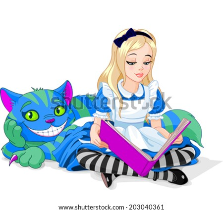 Wonderland Alice reading a book and Cheshire Cat  - stock vector