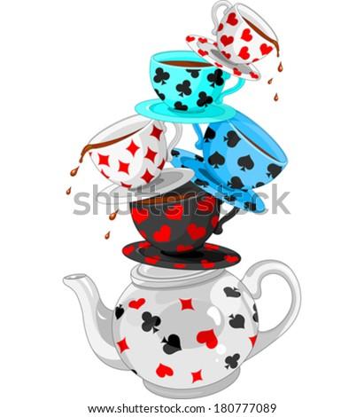 Wonderland Mad Tea Party Pyramid - stock vector