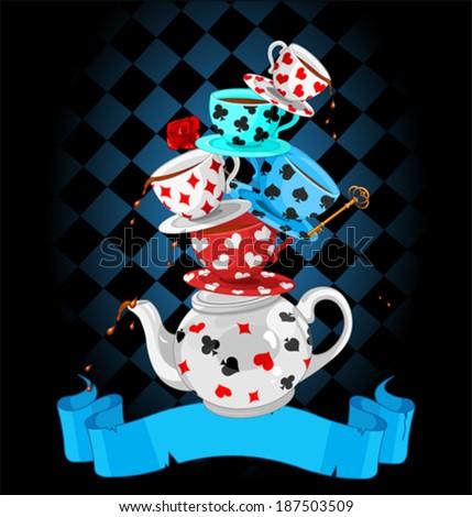 Wonderland Mad Tea Party Pyramid design - stock vector