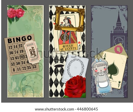 Wonderland Vertical Banners, with gold frame, red rose, Queen of Hearts playing card, bingo card, vintage ticket, Alice in Wonderland paper cutout and Big Ben