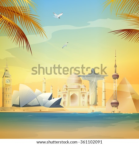 Wonders Of The World - stock vector