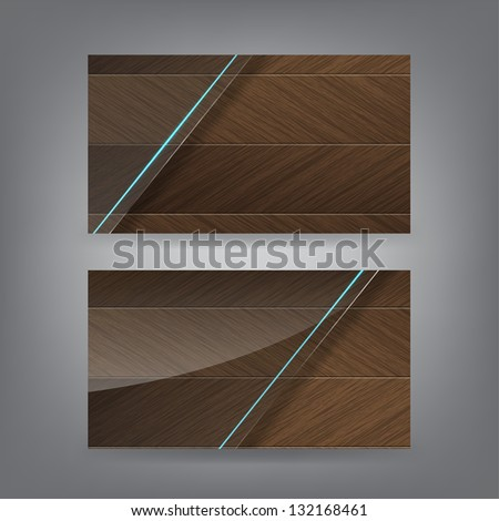 Wood and neon glass theme business card template (Part 1). (Vector) - stock vector