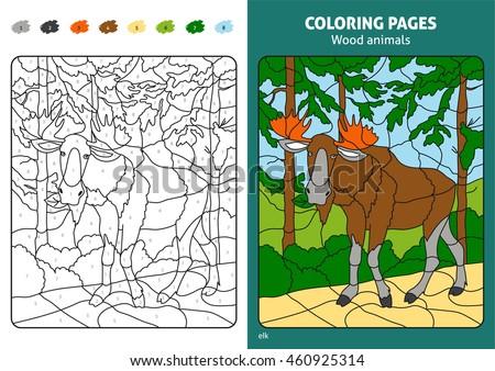 Wood Animals Coloring Page Kids Elk Stock Vector 460925314