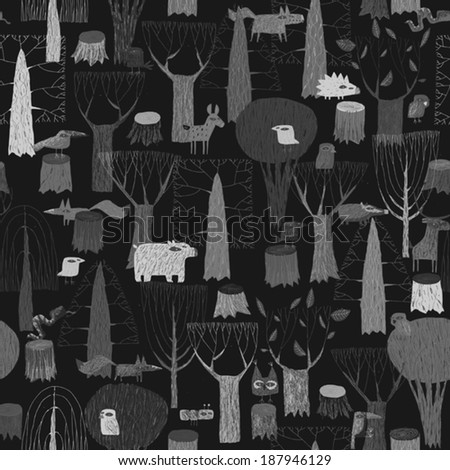 Wood Animals tapestry seamless pattern in grey is hand drawn grunge illustration of forest animals. Illustration is in eps8 vector mode, background on separate layer.