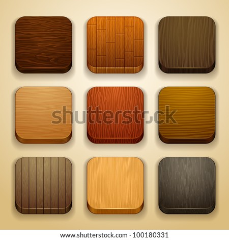 wood background for the app icons - stock vector