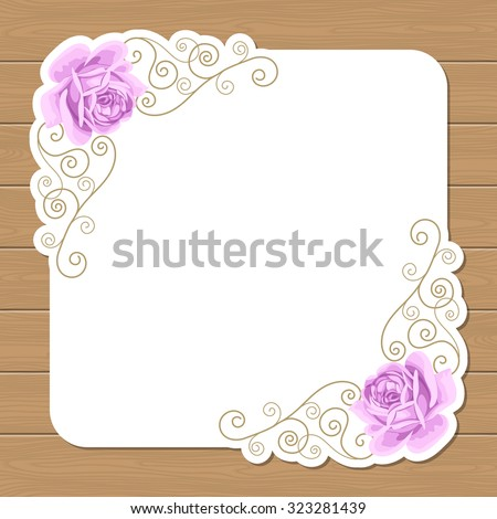 Wood background with hand draw roses and gold curly frame. Shabby chic vector illustration. Invitation, greeting card template. Place for text