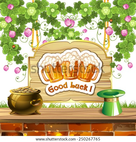 Wood banner with clover, beer and pot of gold - stock vector