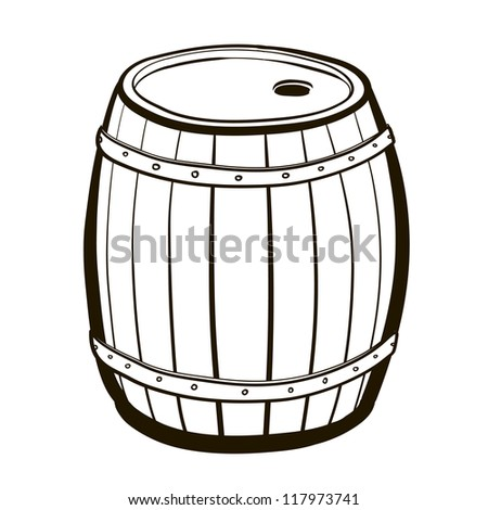 Wood barrel with steel ring. Old Barrel. A children's sketch - stock vector