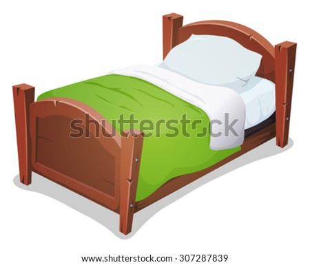 Wood Bed With Green Blanket/ Illustration of a cartoon wooden children bed for boys and girls with pillows and green blanket - stock vector