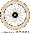wood bike wheels isolated on white - stock vector