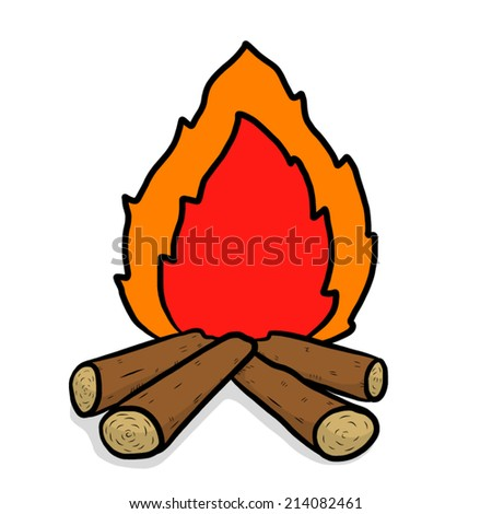 wood camp fire / cartoon vector and illustration, hand drawn style, isolated on white background. - stock vector
