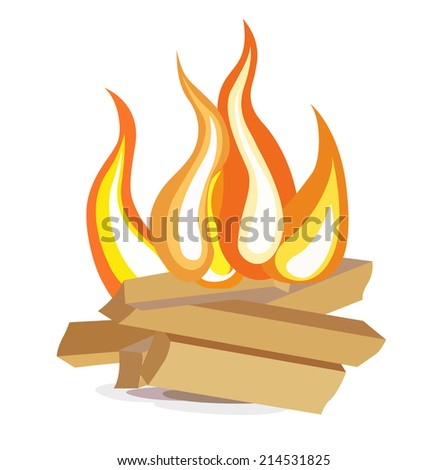wood camp fire flat design icon on white - stock vector