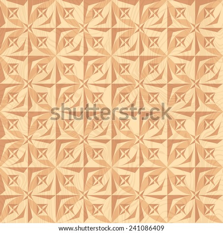 Wood carving. Geometric background. - stock vector