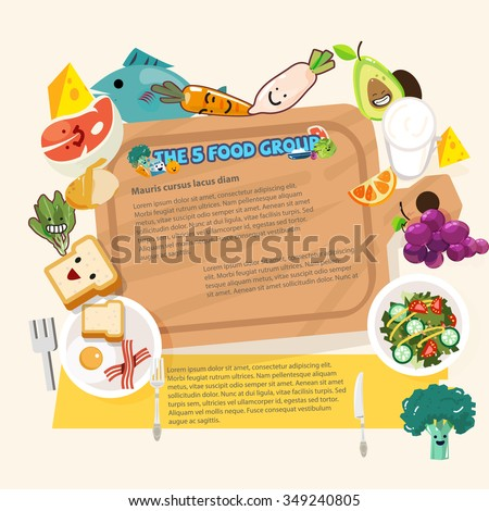 wood chopping block surround by five food group healthy foods concept - vector illustration - stock vector