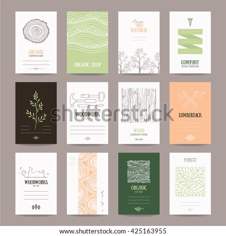Wood company business card, woodwork ad, furniture manufacture banner, natural goods flyer, organic shop poster. Artistic collection of templates with lumberjack tools, woody textures, tree branches. - stock vector