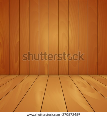 wood floor and wall background vector illustration