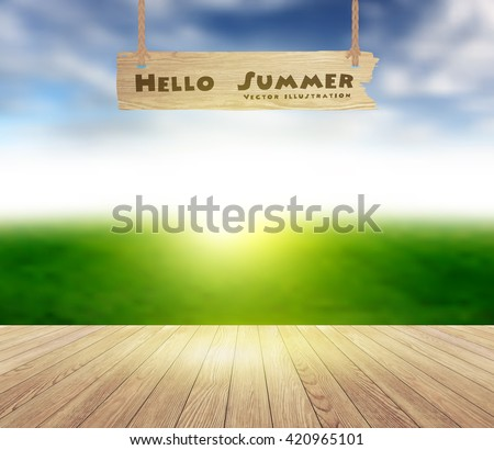Wood floor texture on sky and grass field blurred background, ( Image trace of wooden background ) Vector illustration template design - stock vector